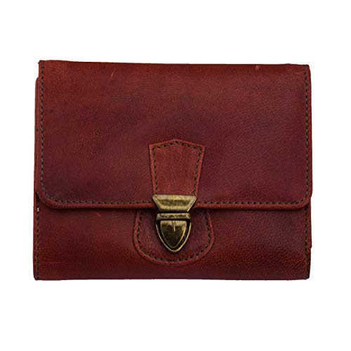 (MANDAVA Handmade Top Grain Genuine Leather Women's Purse with Push Lock Trifold RFID Wallets for Women Brown DIW270)