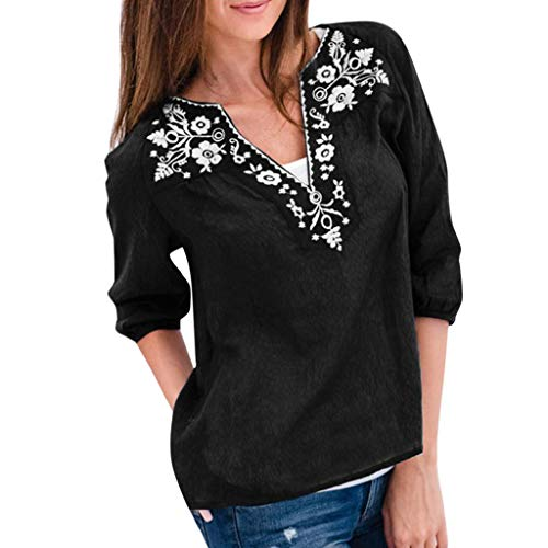 Haxikocty Women Casual Tops Summer Loose Cotton and Linen Three Quarter Sleeve Print Blouse Deep V Neck t-Shirt Black