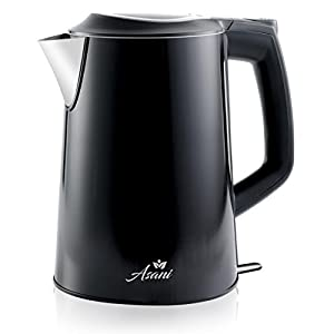 Cordless Stainless Steel Electric Kettle with 100% Plastic-Free Interior | Insulated Double Walls | Electronic Hot Water Heater Pot with Cool Touch, Boil Dry Protection & More (Black2)
