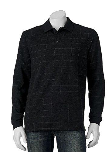 Haggar Men's Classic-Fit Windowpane Jacquard Long Sleeve Polo (Large, (Long Sleeve Jacquard Polo)