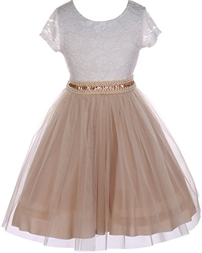 Big Girl Cap Sleeve Lace Top Tulle Pearl Easter Graduation Flower Girl Dress (20JK45S) Champagne 8