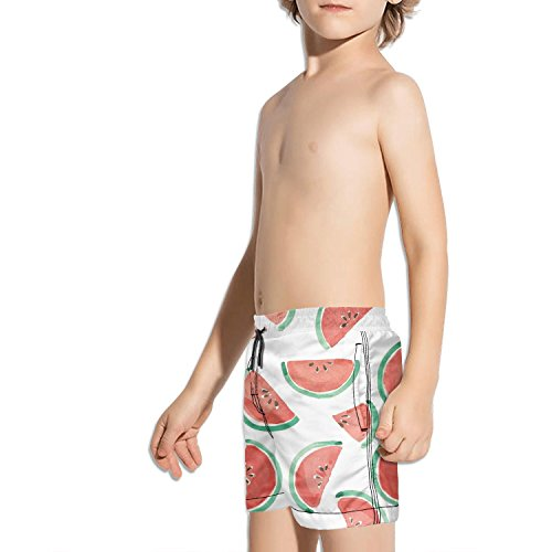Lenard Hughes Boys Quick Dry Beach Shorts with Pockets Watercolor Watermelon Slices Swim Trunks for Summer by Lenard Hughes (Image #2)