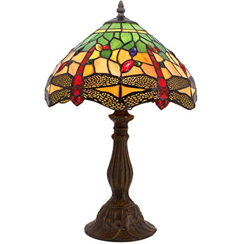 Tiffany Table Lamp 18 Inch Tall Green Yellow Stained Glass Lampshade Crystal Bead Dragonfly Style Anqitue Coffee Table Desk Dresser Bookcase Beside Light for Living Room Bedroom S009G WERFACTORY