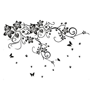 pvc vine flower butterflies removable room art mural wall sticker decal home kitchen. Black Bedroom Furniture Sets. Home Design Ideas