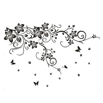 sticker mural fleurs et papillons