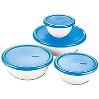 STERILITE 07479406 Juego de tazones cubiertos de 8 piezas, blanco y azul, paquete de 1
