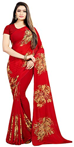 Women's Faux Georgette Floral Print Saree Red 6.30 m With Blouse Piece by Kalaa Varsha