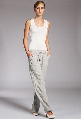 KHS025 Gris Largos Caspar Claro de Holgado Mujer Pantalones Lino para Corto OqwdxTg1