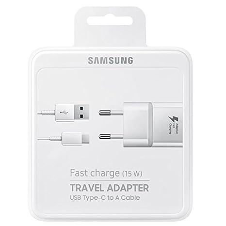 Cargador Original Samsung EPTA20EWE (15W)  Carga Rápida, USB tipo C para Galaxy S9, S9+, S9 Plus, Blanco (Blister)