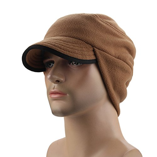 Mens Winter Fleece Earflap Cap With Visor Brown, One Size
