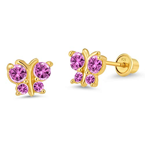14k Gold Plated Brass Pink Butterfly Cubic Zirconia Screwback Girls Earrings with Silver Post