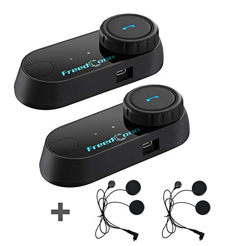 FreedConn 2 pcs Motorcycle Helmet Communication Systems Helmet Bluetooth Intercom