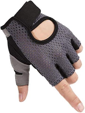 手袋 日常 実用 ユニセックスフィットネス手袋滑り止めハーフフィンガー機器横棒運動乗馬用手袋 (Color : Gray, Size : M)