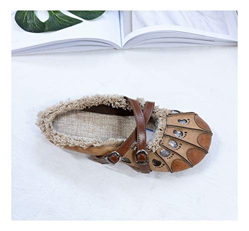 Zapatos Camel Guisante Confort Superficial Color Taladro De Niñas Claret Piso Wild Sólidos Las 37 WULIFANG Sharp Soft Wzaf17f