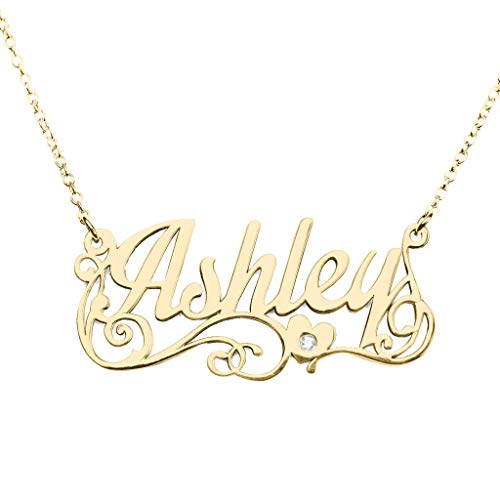 TSD 14K Yellow Gold Personalized Name Necklace with Diamond Accent by JEWLR
