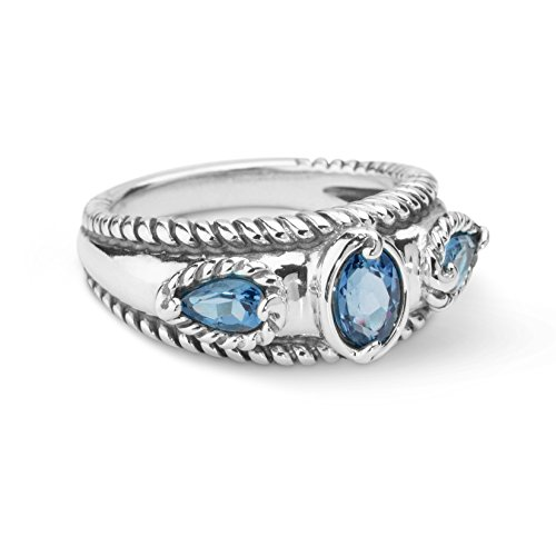 - Carolyn Pollack Sterling Silver London Blue Topaz Band Ring,  size 6