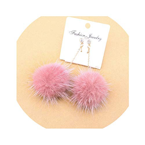 Plated Trinket Crystal Silver Gold (Crystal Cute Rabbit Fur Ball Pompom Long Drop Earrings For Women Soft Pom Pom Ear Dangle Jewelry Winter Gift Trinket Brincos,No4Light Pink)