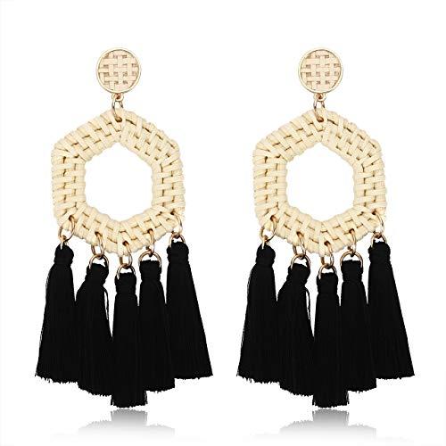 TIKCOOL Rattan Dangle Earrings for Women Woven Tassel Earrings Wicker Straw Drop Earrings Statement Handmade Earrings (Hexagon)