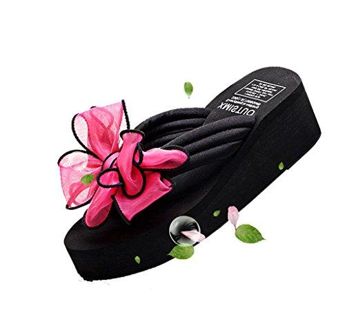 Auspicious beginning Modern Thong Sandal Women's l Summer Beach Flip Flops with Bowknot Red SWhzcOX