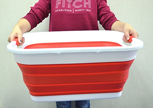 SAMMART Collapsible Plastic Laundry Basket - Foldable Pop Up Storage Container / Organizer - Portable Washing Tub - Space Saving Hamper / Basket (Red)