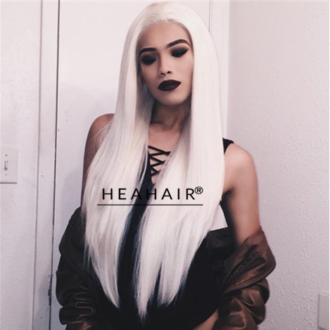 Heahair 24 Inches Long Drag Queen Wigs Platinum Blonde Hair Natural Straight White Synthetic Lace Front Wigs