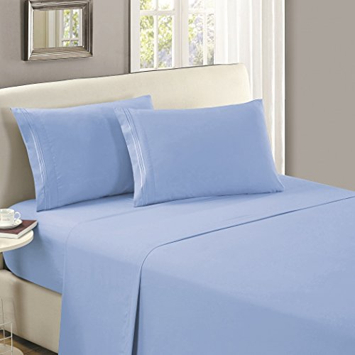 Mellanni Flat Sheet King Blue-Hydrangea - HIGHEST QUALITY Brushed Microfiber 1800 Bedding Top Sheet - Wrinkle, Fade, Stain Resistant - Hypoallergenic - (King, Blue Hydrangea) (Blue Sheet Flat King)