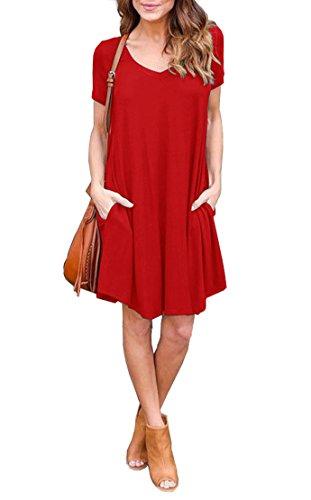 Jouica Women's Pockets Casual Plain Flowy Simple Swing T-Shirt Loose Dress