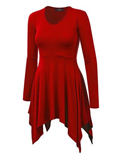 MBJ WT1144 Womens V neck Long Sleeve Pleats Tunic Top L RED ()