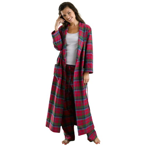 The Irish Linen Store Heather Brushed Cotton Robe de Chambre Femme
