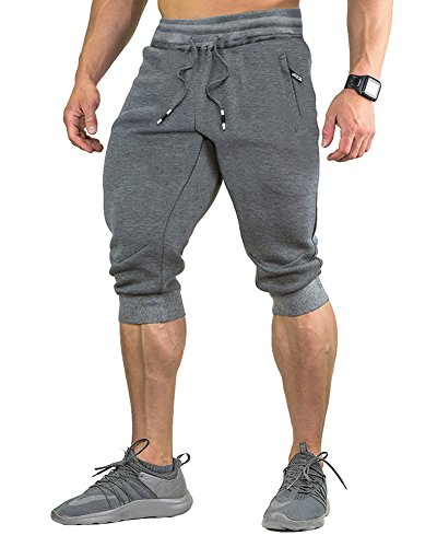 FASKUNOIE Mens Cotton Casual Shorts Gym 3/4 Jogger Capri Pants Long Short Gray