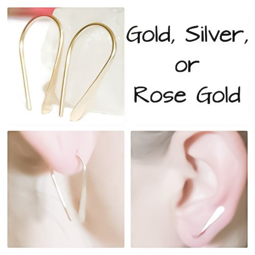 925 Sterling Silver,14K Rose or Gold Filled Ear Climber Earrings, Pink Gold Drop Earrings, Ear Crawler, Ear Bar Stud, Ear Cuff, Minimalist Earrings, Petite Earring