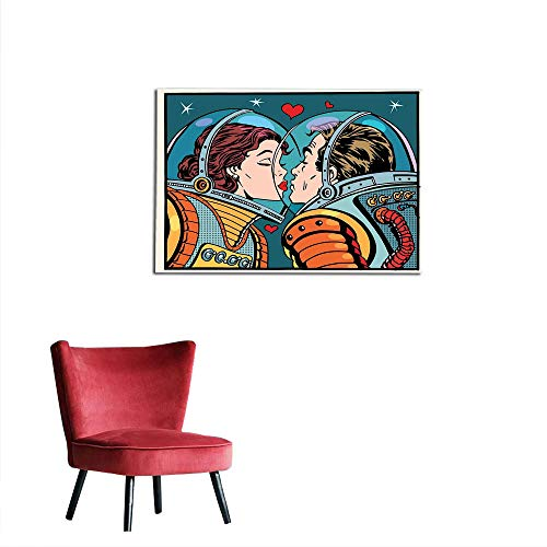 kungfu Decoration Photographic Wallpaper Love Decor,Space Man and Woman Valentines Kissing Science Cosmos Couple Pop Art Design Print,Multi Custom Poster W47.2 x -