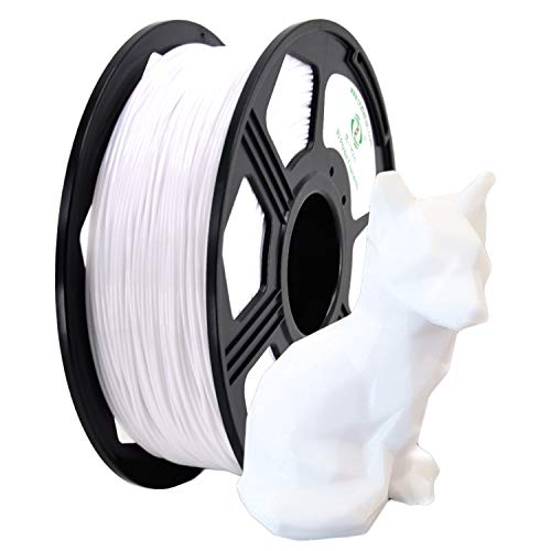 YOYI 3D Printer Filament,Petg Filament 1.75mm,Dimensional Accuracy +/- 0.03 mm,1kg Spool(2.2 lbs),100% raw Material, Eco-Friendly (White)