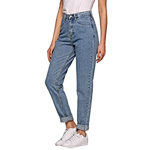 AKEWEI Women's Jeans, Evensleaves High Waist Solid Vintage Straight-Leg Denim Pants