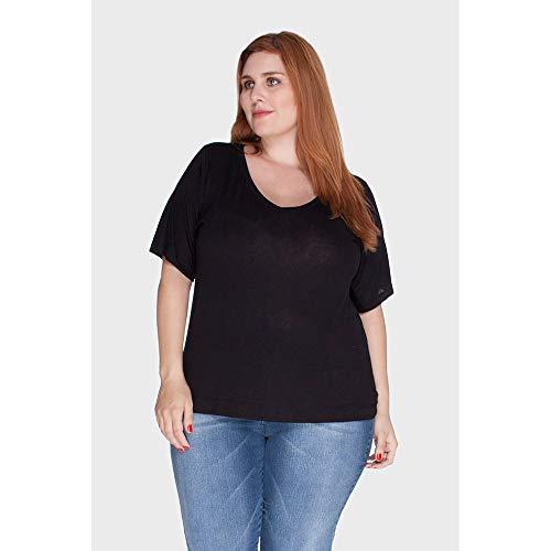 Camiseta Gola V Podrinha Plus Size Preto-46