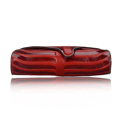 Pijushi Leaf Designer Handbags Embossed Leather Clutch Bag Cross Body Purses 22290 (One Size, Red) by PIJUSHI (Image #7)