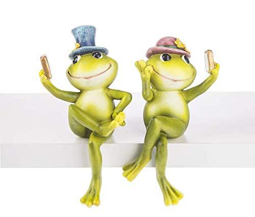 Selfie Frog Spring Green 8 x 5 Resin Stone Shelf Sitter Figurines Set of 2