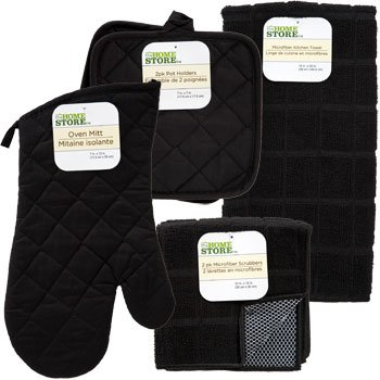 The Home Store Black Windowpane Pattern Kitchen Linens Collection with Pot Holders, Oven Mitt, Kitchen Scrubbers and a Kitchen Towel! Festive Christmas Color
