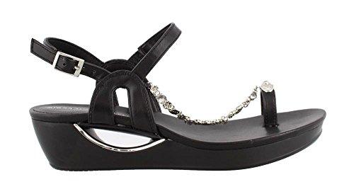Andrew Geller Casidy Women Gold Wedge Sandal Black
