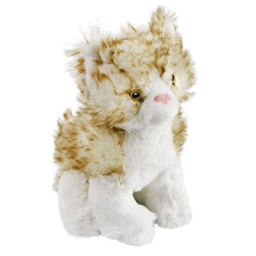Houwsbaby Realistic Cat Stuffed Animal Soft Plush Toy Kids Birthday Gift Huggable Pet Companion on Festival Home Decoration Party Favor, Orange, 8.5''