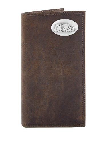 NCAA Mississippi Old Miss Rebels Zep-Pro  Crazyhorse Leather Roper Concho Wallet, Light Brown