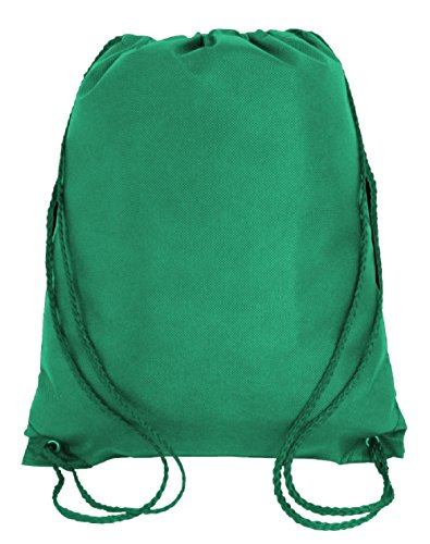 Drawstring Tote Backpack Non-Woven Cinch Sack Bag Swim Camp Party Favor 25 Pack (Kelly Green)