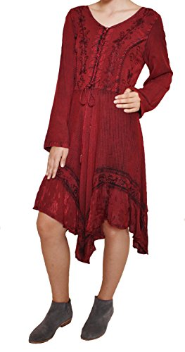 Red Dress w/Satin Ruffles - Large Size #216737