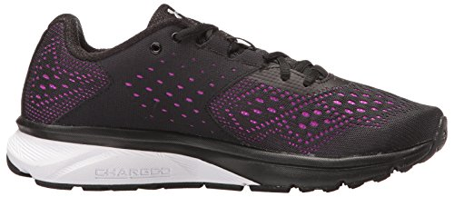 Under Armour Ladys Belasteter Rebell Schwarz / Lila Rave / Metallic Silber