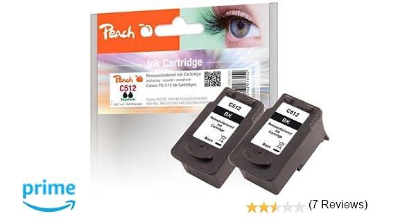 Peach - Cartuchos de tinta compatible con Canon PG-512 (2 unidades), tinta color negro