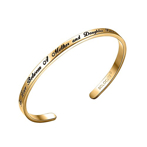 Solocute Mothers Day Sterling Silver Cuff Bangle Bracelet Engraved The Love Between A Mother and Daughter Knows No Distance Inspirational Jewelry, for Thanksgiving Day and Birthday