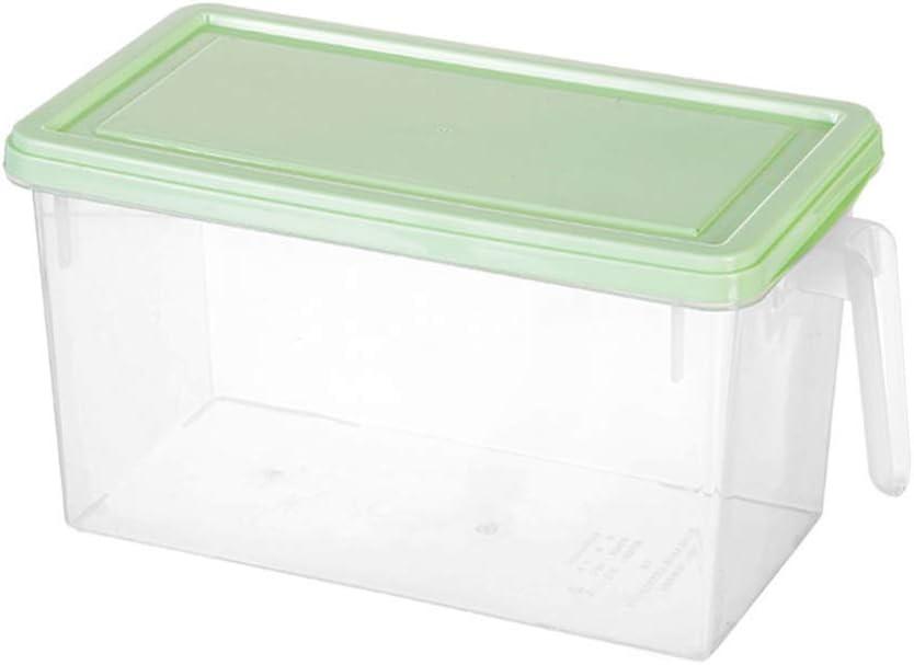 Cabilock asa contenedor frigorífico con Tapa de plástico Transparente Tipo cajón Reutilizable congelador Organizador de Almacenamiento Titular para Cereal Vegetal furit (Verde Claro)