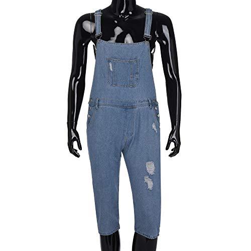 ALIKEEY Moda Hombre Sin Mangas Sexy Slim Fit Denim Jeans Dungarees Jumpsuit Azul