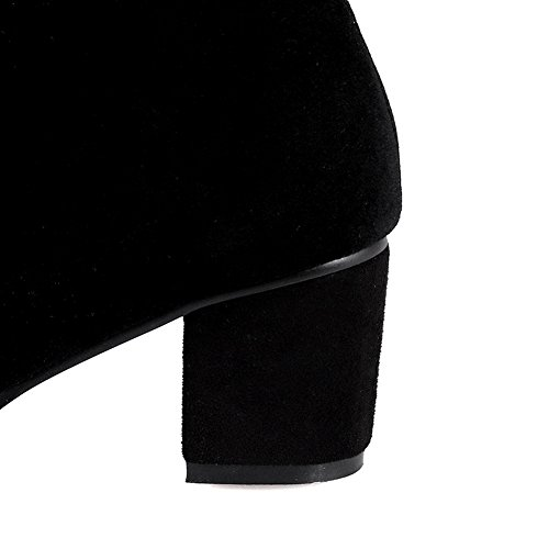 Balamasa Kvinners Chunky Hæler Glidelås Rund Tå Frostet Boots Black