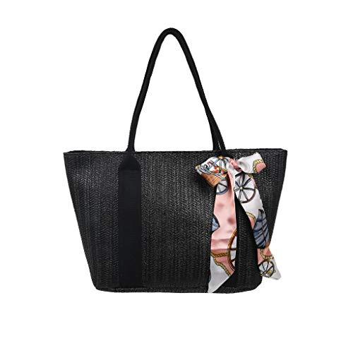 - Midress Zipper Shoulder Bag Fashion Lady Grass Weave Large Capacity Silk Towel Handbag Messenger Bag Satchels Square Bags (Black)